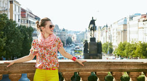 Woman standing near National Museum in Prague and looking aside Royalty Free Stock Photos