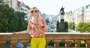 Woman standing near National Museum in Prague and looking up Royalty Free Stock Photo