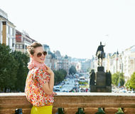 Woman standing near National Museum at Wenceslas Square, Prague Royalty Free Stock Photography