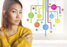 Woman standing next to application icons Stock Photo