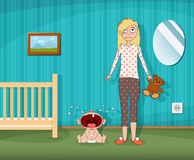 Woman is standing next to a crying child. stock illustration