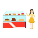 Woman Standing Next To Display Case With Cake Assortment, Smiling Person Having A Dessert In Sweet Pastry Cafe Vector. Illustration. Happy Primitive Cartoon Royalty Free Stock Photography