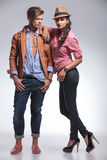 Woman standing next to her boyfriend Royalty Free Stock Photo