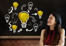 Woman standing next to light bulbs with crumpled paper balls in front of blackboard Stock Images