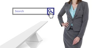 Woman standing next to Search Bar with white abstract structures background Royalty Free Stock Images