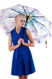 woman standing with open umbrella Royalty Free Stock Images