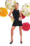 Woman Standing Over Flower Arrangements Stock Photos