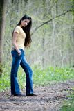 Woman standing on path stock photo