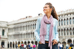 Woman standing on piazza san marco in venice Stock Photos