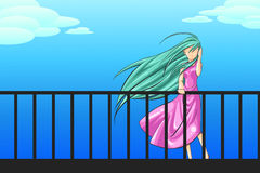 A woman is standing on the porch longing for someo. A woman in pink dress is standing on the porch longing for someone with soft breeze blowing her hair, create stock illustration