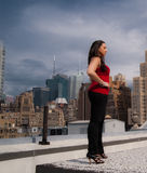 Woman Standing on Rooftop Royalty Free Stock Photos