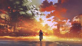 Woman looking at the burning city. Woman standing on the sea looking at the burning city, digital art style, illustration painting stock illustration