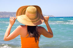 Woman standing on shoreline at the beach. (wiev from back stock photo