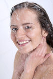 A woman standing at the shower Royalty Free Stock Photography