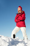 Woman Standing In Snow Stock Photo