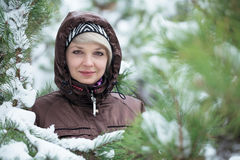 Woman is standing among the snow covered pines. Stock Photos