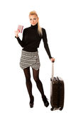 Woman standing with suitcases and travell documents excited to g Stock Photography