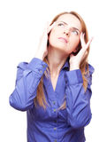 Woman standing tilt head and has got an headache Stock Images
