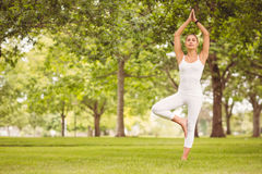 Woman standing in tree pose at park Royalty Free Stock Photo