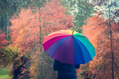 Woman standing under colorful umbrella Stock Photography