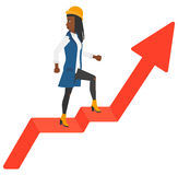 Woman standing on uprising chart Royalty Free Stock Photo