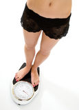 Woman standing on weighing scales Royalty Free Stock Image