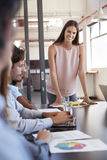 Woman stands addressing colleagues at meeting, vertical Stock Photo