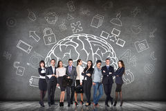 Woman stands beside big drawn brain Royalty Free Stock Images