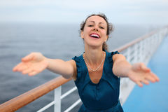 Woman stands on board of ship Royalty Free Stock Photography