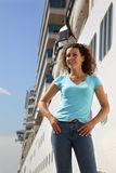 Woman stands near board of ship Stock Photos