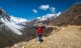 Woman Stands near Chopta Valley in north Sikkim In Royalty Free Stock Photography
