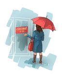 Woman stands near a closed shop. Royalty Free Stock Images
