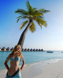 Woman stands near palm tree, Maldives Royalty Free Stock Photography