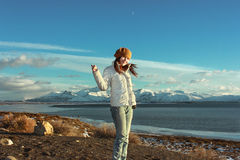 Woman stands near Patagonia beach ,Argentina stock photo