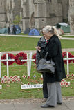 A woman stands by the popies of rememberance Royalty Free Stock Image