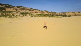 Woman Stands in Warrior Assana among Desert Upper View. Wonderful upper view young concentrated woman stands in warrior assana among wide desert and hills stock footage
