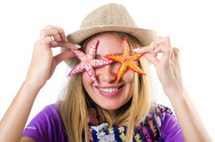 The woman with star shells isolated on white Stock Images