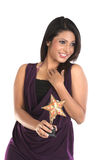 Woman with star trophy