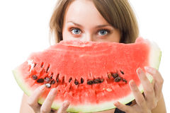 Woman stare behind watermelon Royalty Free Stock Images