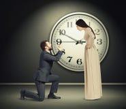 Woman staring at latecomer Royalty Free Stock Photos