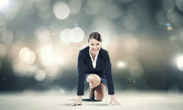 Woman at start Royalty Free Stock Photography