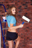 Woman starting renovation Royalty Free Stock Image