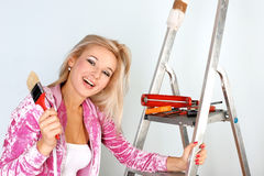 Woman starting renovations Stock Photo
