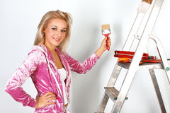 Woman starting renovations Stock Image