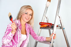 Woman starting renovations Stock Images