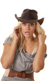 Woman startled hat Stock Image