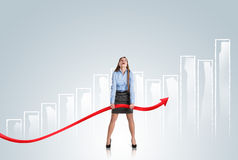 Woman with statistics curve Royalty Free Stock Photography