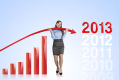 Woman with statistics curve Stock Photo