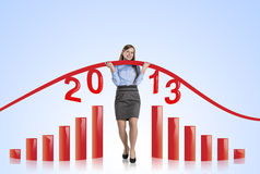 Woman with statistics curve Royalty Free Stock Image