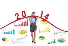 Woman with statistics curve Royalty Free Stock Photos